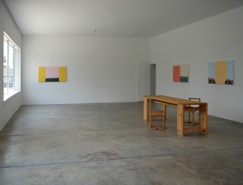 installation of paintings at the Locker Plant