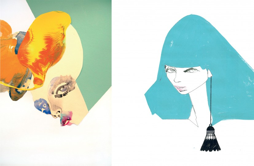 Left: Muriel (detail), mural  at Mulberry store, Leeds 2008. Right: Sweet Nothings, 2006