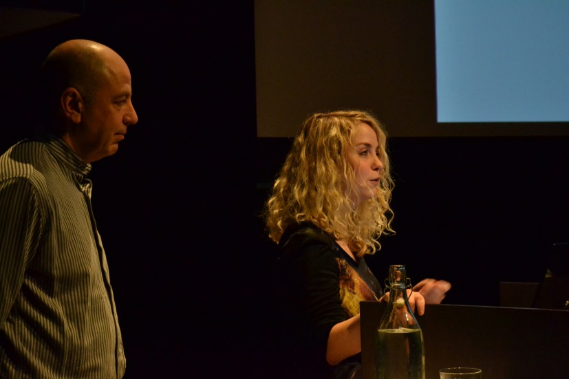 Neville Gabie and Helen Nisbet speaking at the Orchard symposium