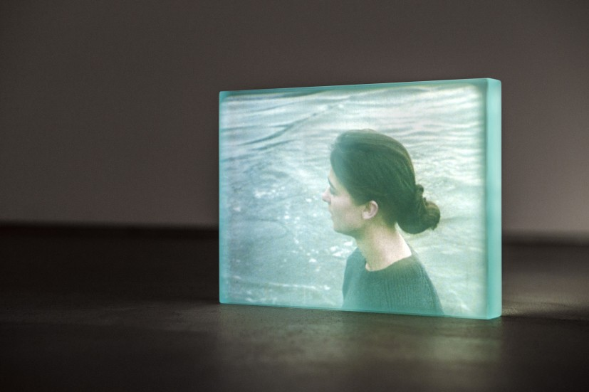 Bore Song (detail), 2011, 16mm film loop projected onto float glass, 28 seconds. Installation view at the Contemporary Art Society (13 February - 1 March 2013). Acquired by the Contemporary Art Society for Cheltenham Art Gallery & Museum.