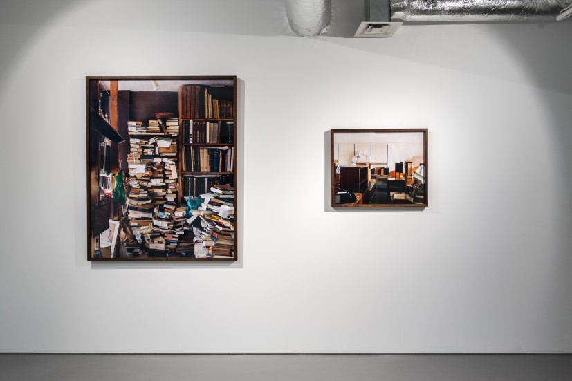 Left: Bookshelves (Archive Bookshop), 2004, 118 x 145cm. Right: Charity Shop Watford, 2001, Cibachrome print, 61 x 76cm